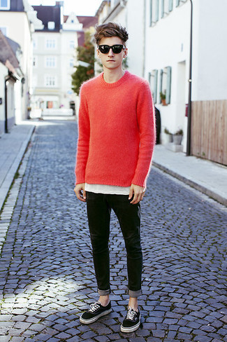 How to wear: red crew-neck sweater, white crew-neck t-shirt, black skinny jeans, black low top sneakers