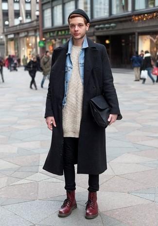 How to wear: black skinny jeans, beige knit crew-neck sweater, light blue denim jacket, black overcoat