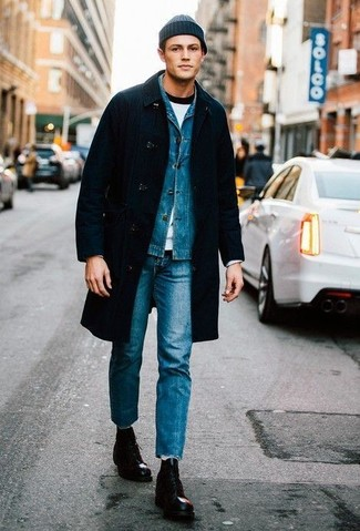 How to Wear a Black Overcoat: This smart pairing of a black overcoat and blue jeans is super easy to pull together without a second thought, helping you look stylish and ready for anything without spending too much time going through your wardrobe. Look at how well this look is complemented with a pair of black leather casual boots.