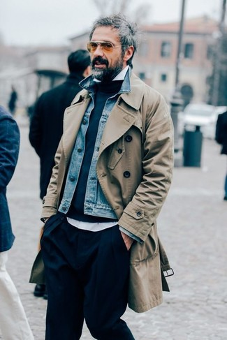 How to wear: white long sleeve shirt, navy crew-neck sweater, blue denim jacket, tan trenchcoat