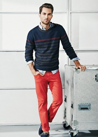 How to wear: navy horizontal striped crew-neck sweater, light blue denim shirt, red chinos, navy leather boat shoes