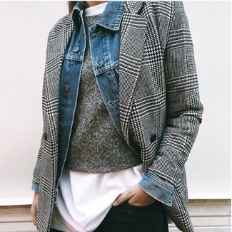 How to wear: white crew-neck t-shirt, charcoal crew-neck sweater, black and white houndstooth double breasted blazer, blue denim jacket