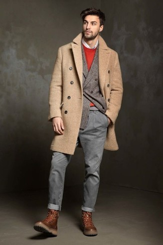 How to wear: white long sleeve shirt, red crew-neck sweater, grey wool double breasted blazer, camel overcoat