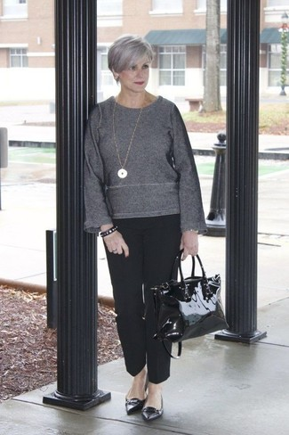 How to wear: charcoal crew-neck sweater, black dress pants, black leather ballerina shoes, black leather tote bag