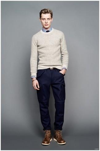 Brown Sweater Grey Pants - Pant Row