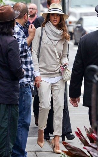 Go for a grey crew-neck pullover and a hat if you're looking for an outfit idea for when you want to look casually cool. A pair of camel leather wedge pumps adds more polish to your overall look. So so as you can see, it's a knockout, not to mention spring-appropriate, outfit to keep in your transitional wardrobe.