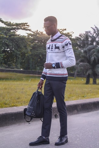How to wear: white christmas crew-neck sweater, white dress shirt, black dress pants, black leather derby shoes