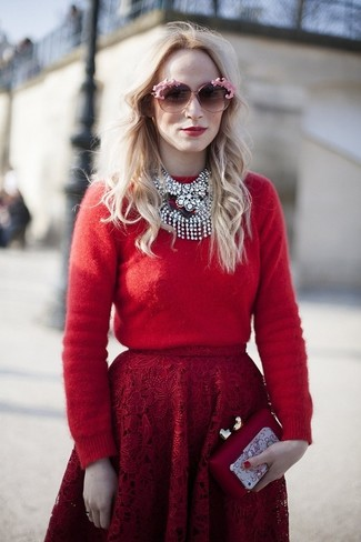 How to wear: red crew-neck sweater, red lace full skirt, red clutch, pink sunglasses