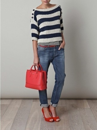 Rock a crew-neck sweater with blue jeans to bring out the stylish in you. Add red pumps to your ensemble for an instant style upgrade. These picks will keep you cozy and stylish in awkward transition weather.