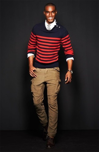 How to wear: red and navy horizontal striped crew-neck sweater, white long sleeve shirt, khaki cargo pants, dark brown leather derby shoes