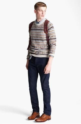 How to Wear a Beige Fair Isle Crew-neck Sweater (8 looks) | Men's ...