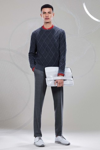 How to wear: charcoal crew-neck sweater, red long sleeve shirt, charcoal wool dress pants, grey leather derby shoes