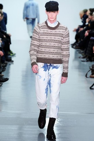 How to wear: brown fair isle crew-neck sweater, white long sleeve shirt, white jeans, black leather casual boots