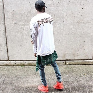 How to wear: white print crew-neck sweater, green plaid long sleeve shirt, blue ripped skinny jeans, red high top sneakers