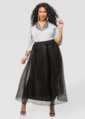 How to wear: grey embellished crew-neck sweater, black chiffon maxi skirt, black leather heeled sandals, silver bracelet