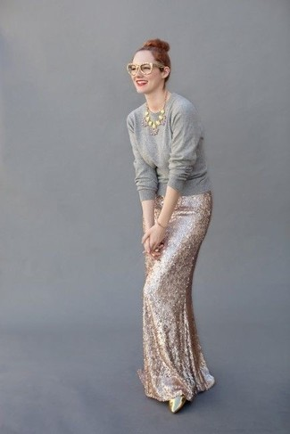 How to wear: grey crew-neck sweater, gold sequin maxi skirt, gold leather pumps, gold sunglasses