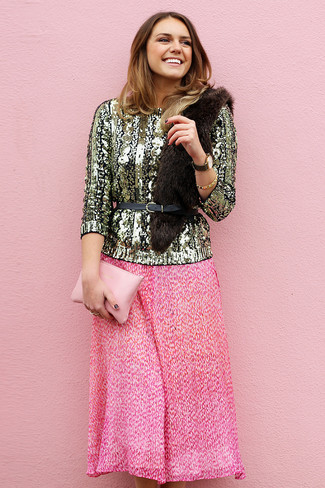 How to wear: gold sequin crew-neck sweater, hot pink pleated midi skirt, pink leather clutch, black leather waist belt