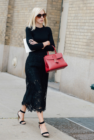 Consider teaming a crew-neck pullover with a black lace midi skirt to bring out the stylish in you. And if you want to instantly up the style of your look with one piece, add black suede heeled sandals to the mix. As the weather starts to cool down, you'll discover that a look like this is ideal for fall.
