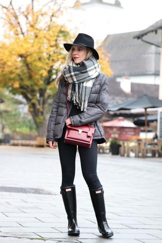 How to wear: black leggings, black crew-neck sweater, grey puffer jacket, grey plaid shawl