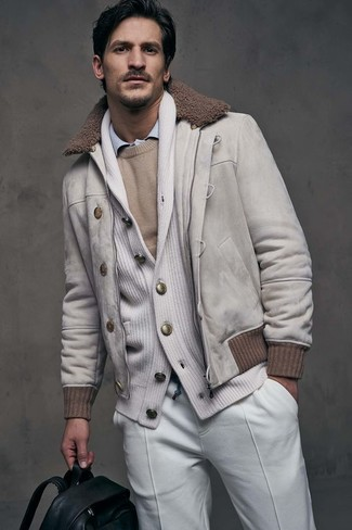 How to wear: light blue dress shirt, beige crew-neck sweater, white shawl cardigan, beige suede bomber jacket