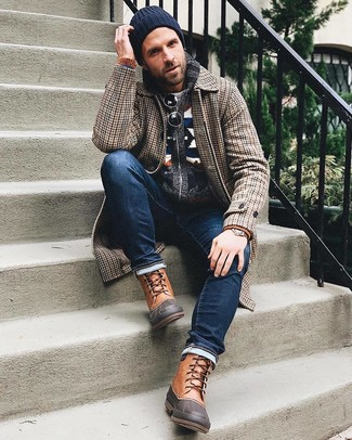 How to wear: navy jeans, grey crew-neck sweater, navy fair isle shawl cardigan, brown houndstooth overcoat