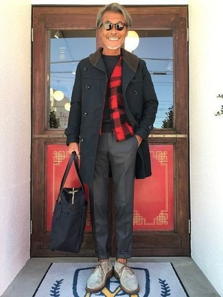 How to wear: charcoal dress pants, black crew-neck sweater, red and black check shirt jacket, black overcoat
