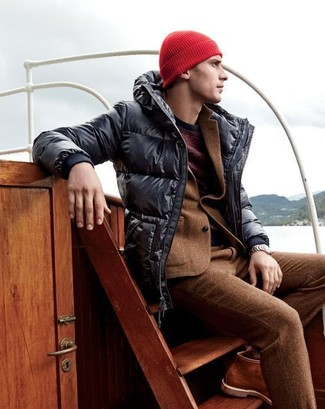 How to wear: brown leather work boots, burgundy crew-neck sweater, brown wool suit, black puffer jacket