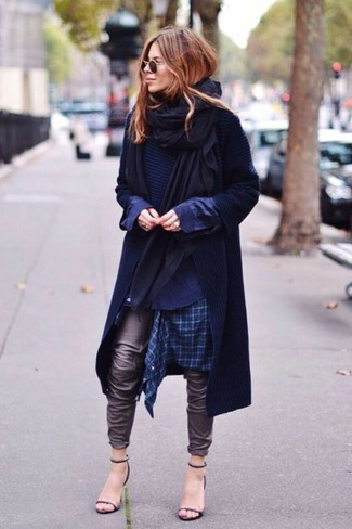 How to wear: navy plaid dress shirt, navy crew-neck sweater, navy trenchcoat, black shawl