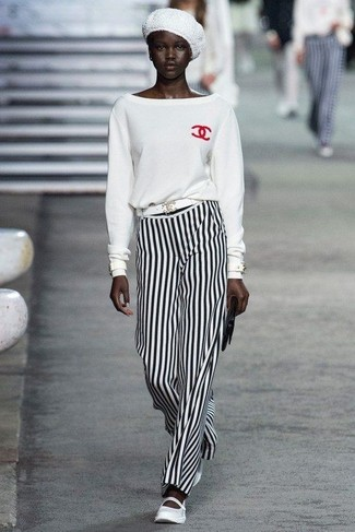 How to wear: white crew-neck sweater, white and black vertical striped wide leg pants, white leather ballerina shoes, black leather clutch