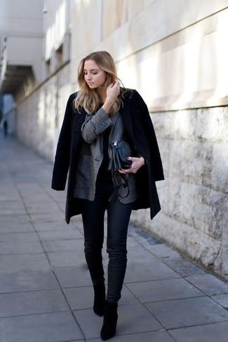 How to wear: black skinny jeans, black crew-neck t-shirt, charcoal gingham blazer, black coat