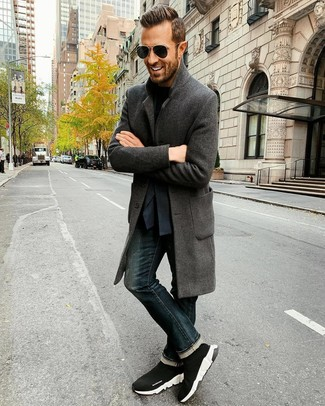 How to wear: navy jeans, black crew-neck t-shirt, navy blazer, charcoal overcoat