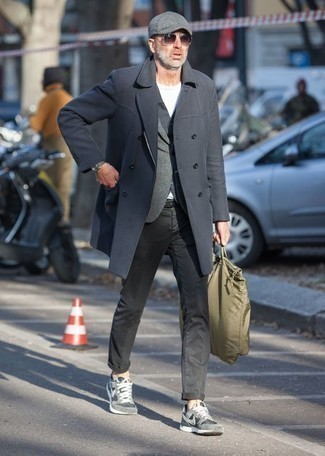 How to Wear an Olive Leather Watch For Men: For an outfit that's as chill as it can get, dress in a charcoal overcoat and an olive leather watch. To inject a more laid-back finish into your getup, complete this look with a pair of grey athletic shoes.
