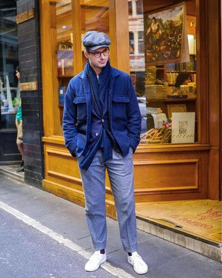 How to Wear a Grey Flat Cap For Men: The styling capabilities of a navy wool shirt jacket and a grey flat cap guarantee they'll always be on constant rotation in your closet. Complete this ensemble with a pair of white low top sneakers to immediately turn up the fashion factor of this look.