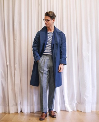 How to wear: grey wool dress pants, white and navy horizontal striped crew-neck t-shirt, navy wool blazer, navy trenchcoat