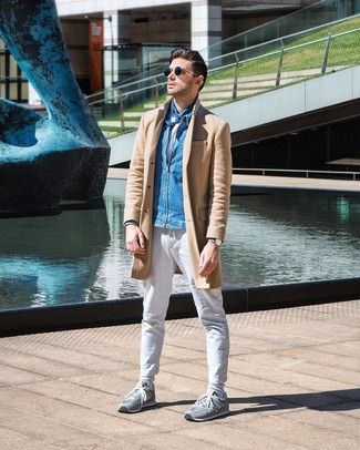 How to wear: white chinos, white crew-neck t-shirt, blue denim bomber jacket, camel overcoat