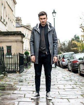 How to Wear Black and White Canvas Low Top Sneakers For Men: A put together combination of a grey raincoat and navy chinos will set you apart instantly. All you need is a great pair of black and white canvas low top sneakers.
