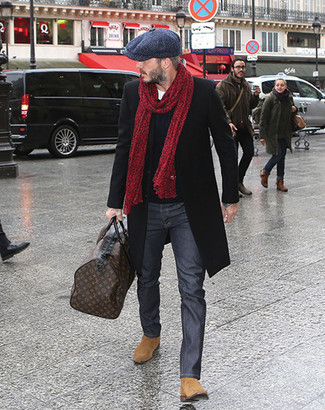 How to wear: charcoal jeans, white crew-neck t-shirt, navy cable sweater, black overcoat