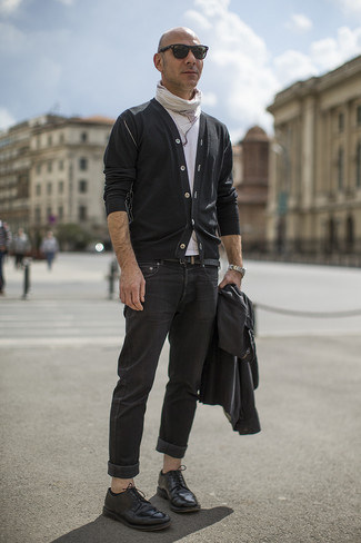 How to wear: black jeans, white crew-neck t-shirt, black cardigan, black leather biker jacket
