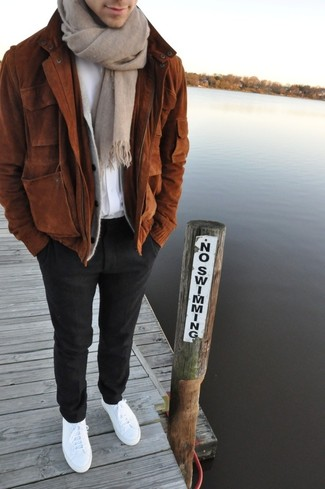 How to wear: black wool dress pants, white crew-neck t-shirt, grey cardigan, brown suede bomber jacket