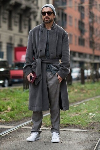 How to Wear a Grey Cardigan For Men: This laid-back combination of a grey cardigan and grey plaid chinos is a winning option when you need to look dapper in a flash. You know how to play it down: white canvas low top sneakers.