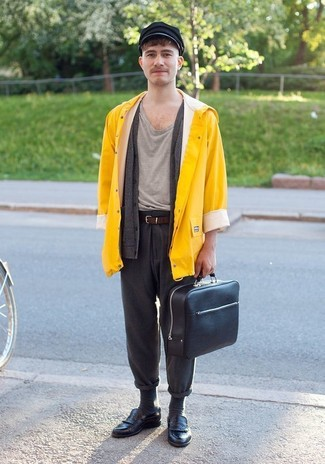 How to wear: charcoal wool chinos, grey crew-neck t-shirt, charcoal cardigan, yellow raincoat