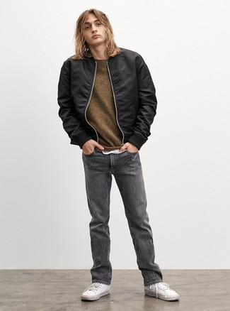 How to wear: grey jeans, white crew-neck t-shirt, olive crew-neck sweater, black bomber jacket