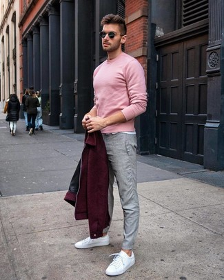 How to Wear a Burgundy Wool Bomber Jacket For Men: You'll be surprised at how easy it is for any gent to put together this casual outfit. Just a burgundy wool bomber jacket combined with grey chinos. For something more on the daring side to finish off your outfit, throw a pair of white leather low top sneakers in the mix.