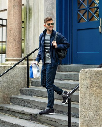 How to wear: navy jeans, white crew-neck t-shirt, grey horizontal striped crew-neck sweater, navy bomber jacket