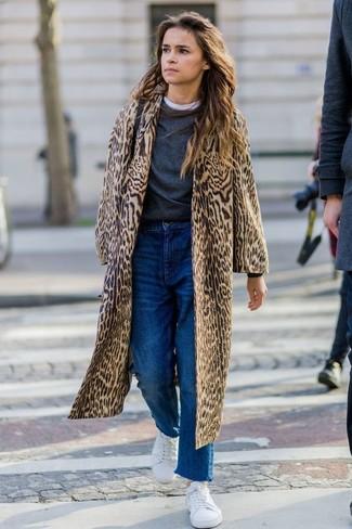 How to wear: blue boyfriend jeans, white crew-neck t-shirt, charcoal crew-neck sweater, tan leopard fur coat