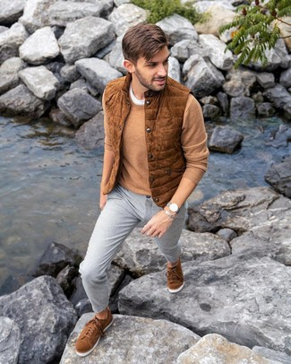 How to wear: grey chinos, white crew-neck t-shirt, tan crew-neck sweater, tobacco suede gilet
