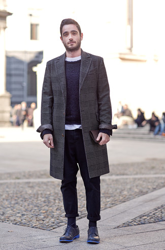 How to Wear Navy Socks For Men: Pair a charcoal houndstooth overcoat with navy socks to create an urban and absolutely dapper look. Unimpressed with this getup? Enter navy leather derby shoes to switch things up.