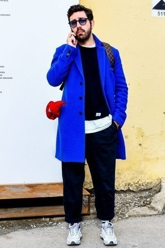 How to Wear Violet Sunglasses For Men: Go for a simple yet casually cool ensemble by wearing a blue overcoat and violet sunglasses. Dial up the wow factor of your ensemble with light blue athletic shoes. This outfit suggests how to keep killing in casual dressing as a 30-something gent.