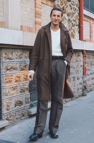 Men's Looks & Outfits: What To Wear In 2020: Pair a brown overcoat with grey dress pants to look good and classic. Feeling bold today? Dial down your look by rounding off with a pair of black leather casual boots.