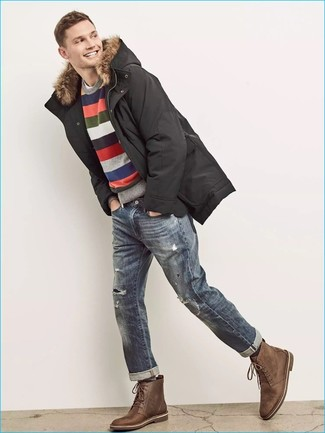 How to wear: blue ripped jeans, white crew-neck t-shirt, multi colored horizontal striped crew-neck sweater, black parka